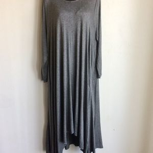by Amelia Martin Dresses - Grey Hi Low Maxi Long Sleeve Dress Size XXL NWTS